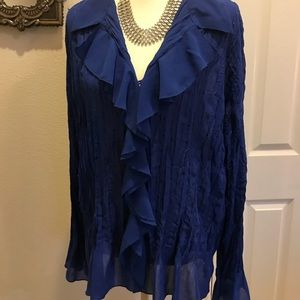 NWOT Notations 2X Romantic blouse subtle sequins